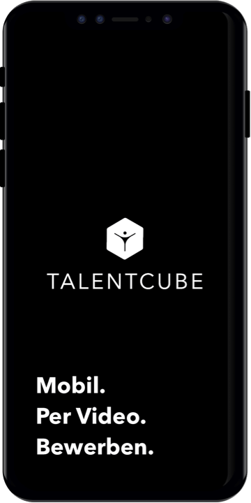 Schwarzes Iphone mit Talentcube Logo und Apply. Simply. Via Video