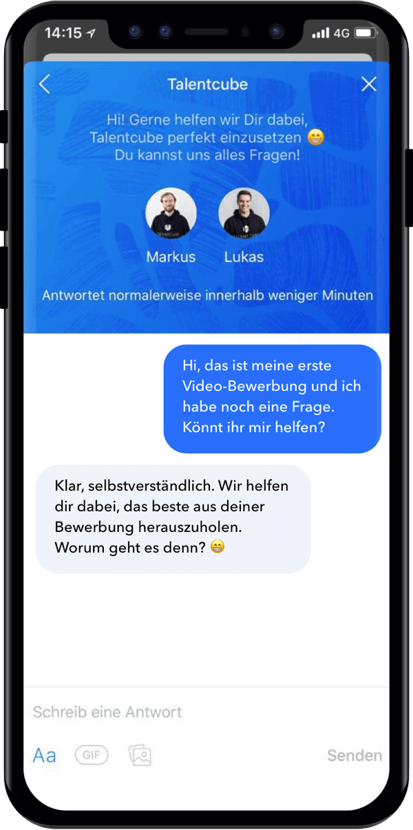 Talentcube App Support Chat