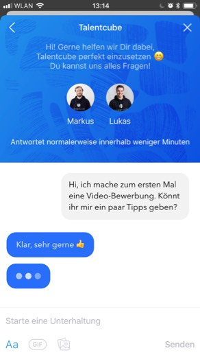 Support Chat in der Talentcube App